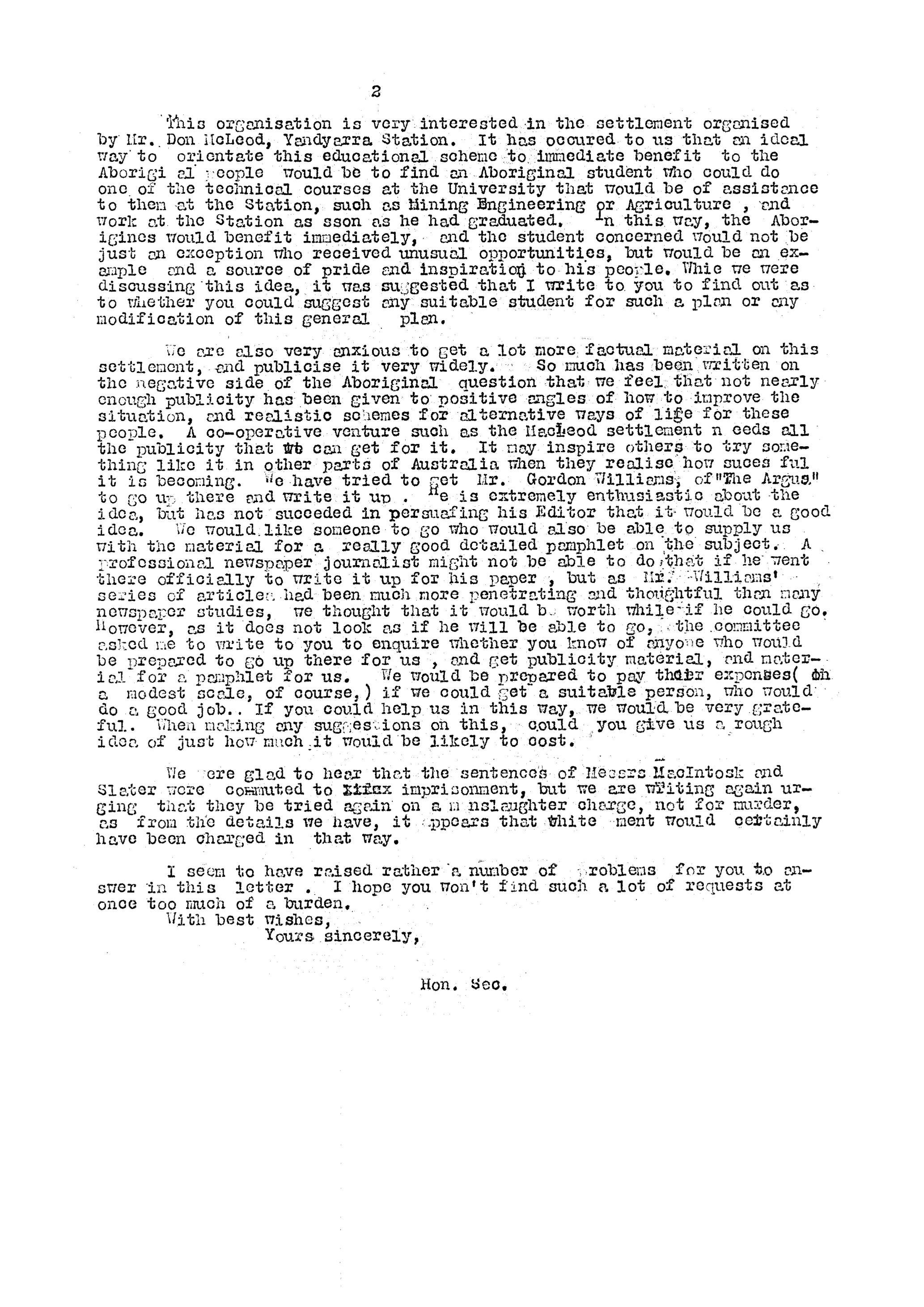 Excerpt of Shirley Andrews to Alfred Jacobs, 21 July 1953, Records of the Narrogin Native Welfare Committee, State Library of Western Australia, MS 3797A/58