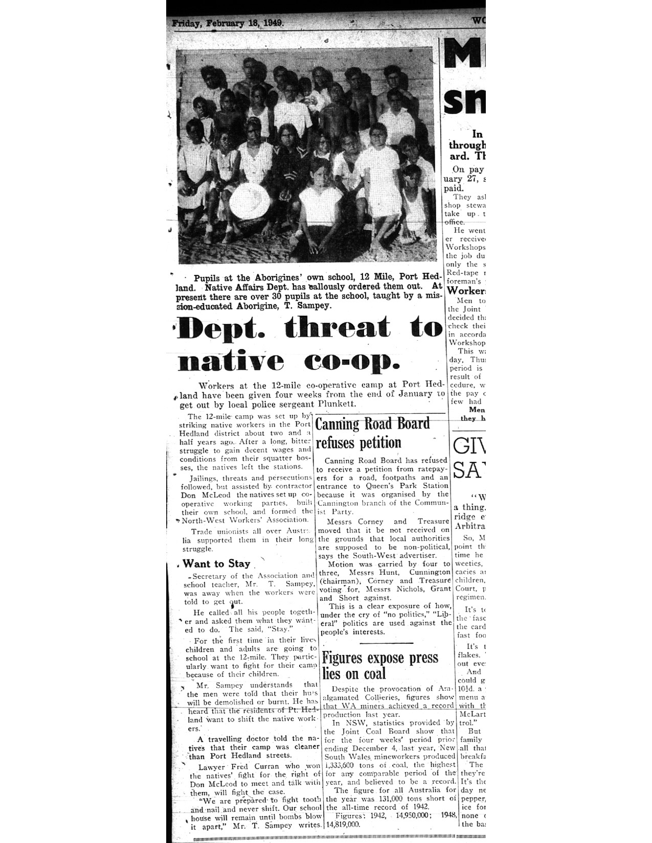 Dept. Threat to Native Co-op newspaper article