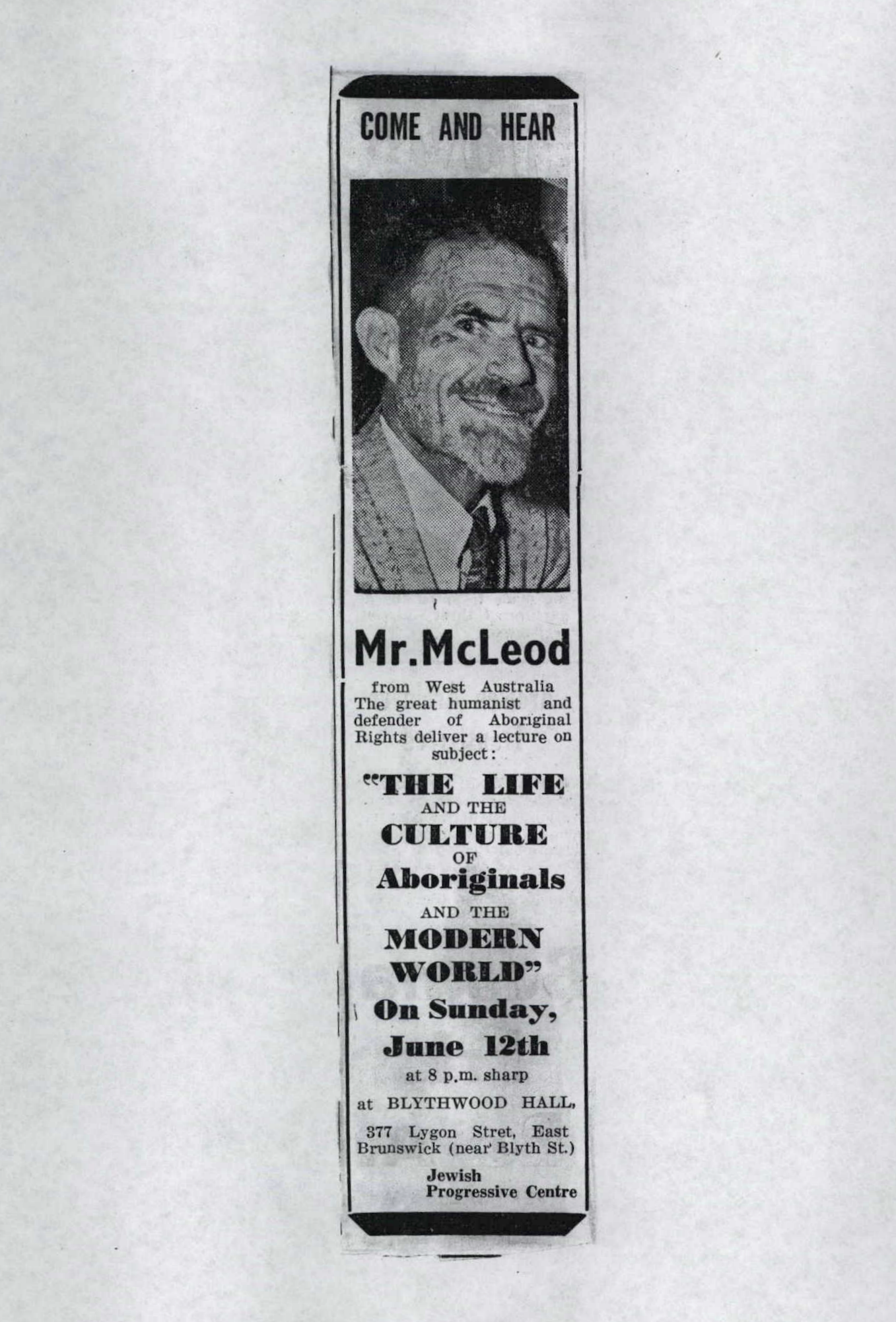 Unsourced newspaper cutting, Don McLeod ASIO, National Archives of Australia